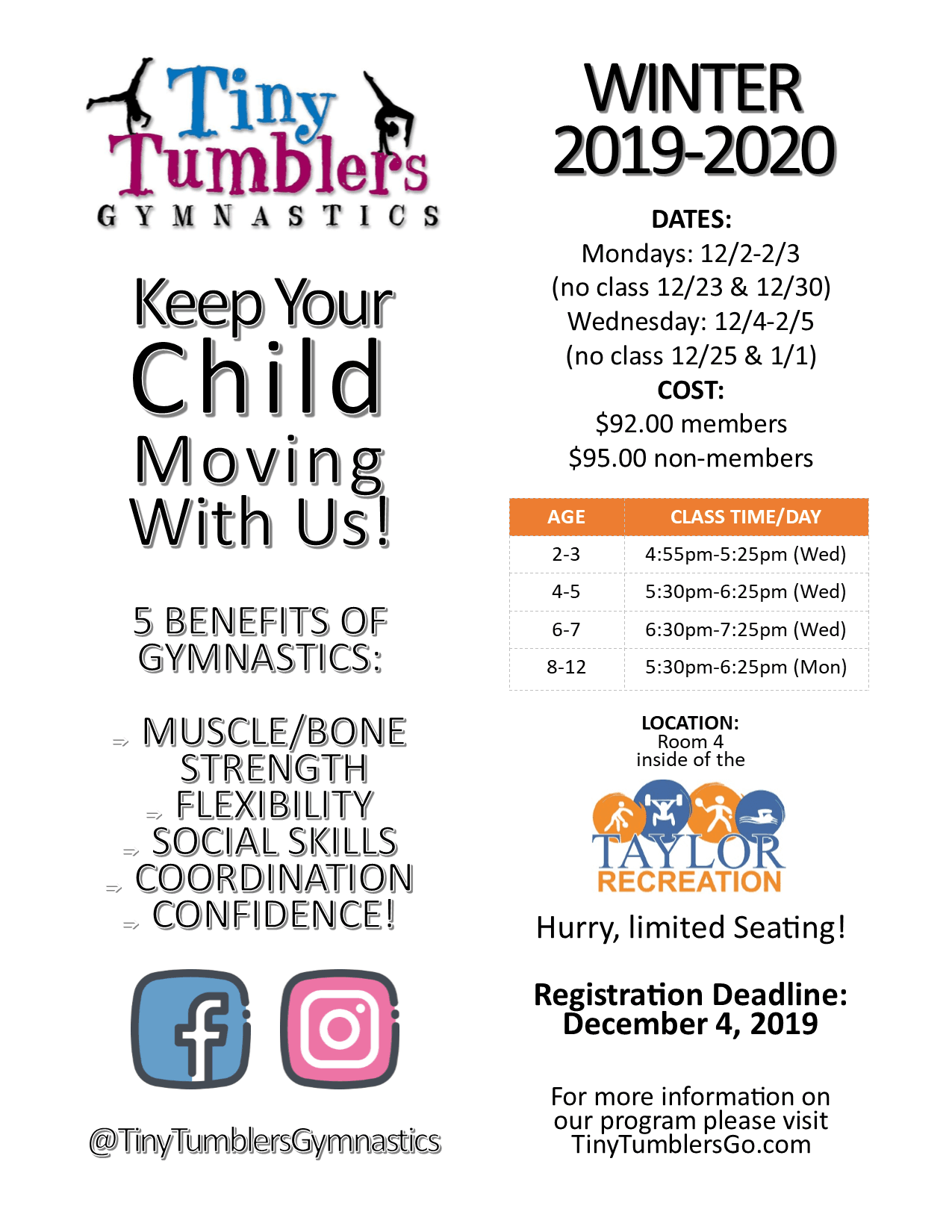 Tiny Tumblers Gymnastics Schedules